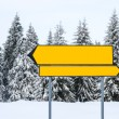 Blank direction signs at mountain ski resort — Stock Photo