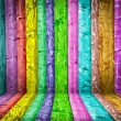 Multicolored wood room — Stock Photo
