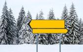 Blank direction signs at mountain ski resort — Stock Photo