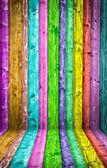Multicolored wood room — Stock Photo
