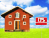 """FOR SALE"" sign against wooden house on beautiful meadow in back — Stock Photo"