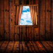 Stock Photo: Skyscape through window of wooden cottage