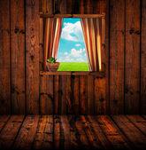 пейзаж через окно деревянный коттедж — Стоковое фото