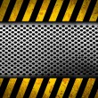 Grunge metal background with black and yellow warning stripes — Stock Photo #18261743
