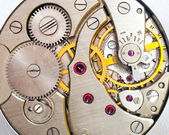 Clock mechanism macro shot — Stock Photo