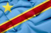 Kongo-kinshasa viftande flagga — Stockfoto