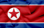 North Korea waving flag — Foto de Stock