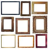συλλογή εκλεκτής ποιότητας ξύλινα και χρυσή κενά πλαίσια που απομονώνονται σε — Φωτογραφία Αρχείου