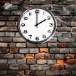 Retro clock on brick wall — Stock fotografie #19181885