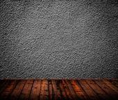 Empty room interior with black wall — Stock Photo