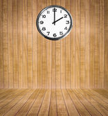 Wooden room with clock — Foto de Stock