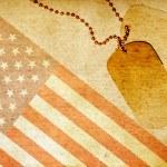Vintage USA flag and ID tags — Stock Photo