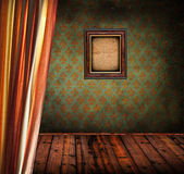 Retro room with curtain and wooden photo frame — Stock Photo
