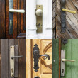 Antique door handles collage — Stock Photo