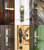 Antique door handles collage — Stock Photo