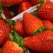 Macro of strawberries in box — Stock Photo