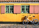 Bicycle in front of the entrance to an apartment in one of the h — Foto Stock