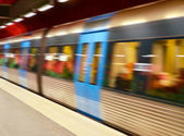 High speed subway train in motion blur — Stock Photo