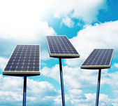 Solar panels against blue sky — Foto Stock