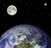 Planet earth and moon - Elements of this image furnished by NASA — Stock Photo