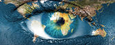 "Planet earth and blue hman eye - ""Elements of this image furnish — Zdjęcie stockowe"
