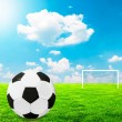 Football concept - Football on field with empty goal in backgrou — Stock Photo