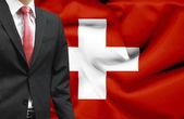 Biznesmen z koncepcyjnego obrazu szwajcaria — Zdjęcie stockowe
