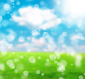 Green and blue abstract defocused background with sunshine — Stock Photo
