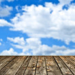 Stock Photo: Wood floor and blue sky