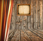 Grunge room with empty photo frame — Stock Photo
