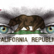 Human face painted with flag of California — Stock Photo