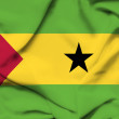 Sao Tome and Principe waving flag - Stock Photo