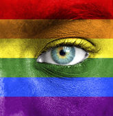 Human face painted with flag of Pride (Gay) — 图库照片
