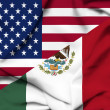 United States of America and Mexico waving flag - Stok fotoğraf