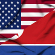 United States of America and North Korea waving flag — Stock fotografie
