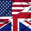 Stock Photo: United States of America and United Kingdom waving flag