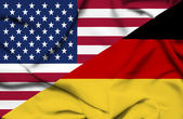 United States of America and Germany waving flag — Stock Photo