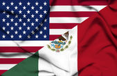 United States of America and Mexico waving flag — Stock Photo