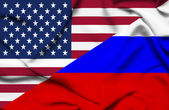 United States of America and Russia waving flag — Stock Photo