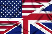United States of America and United Kingdom waving flag — Stock Photo