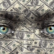 Stock Photo: Humface with money texture - Wealth concept