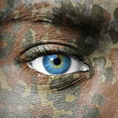 Extreme close up of soldiers eye — Stock Photo