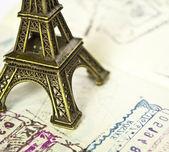 Stamped passport with Eiffel passport - Travel to Paris concept — Stock Photo