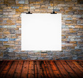 Interior of empty room with white paper hanging on wall — Stock Photo