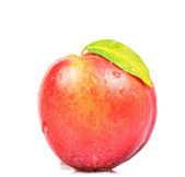 Fresh juicy peach isolated on white — Stock Photo