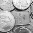 Silver coins and bars background — Stock Photo #27310859