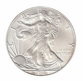 One silver dollar isolated on whiteround — Stock Photo
