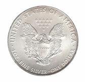 Jeden dolar srebrny na białym tle — Zdjęcie stockowe