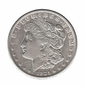 Silver Morgan dollar isolated on white — Stock Photo