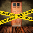 CRIME SCENE yellow tape against grunge room — Stock Photo #28165899